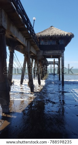 Pier  structure seen from the beach, Puntarenas Costa Rica #788598235