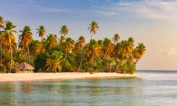 Pigeon Point, Tobago, Trinidad and Tobago, Caibbean, West Indies, small beach in Trinidad and Tobago,beautiful sunset
