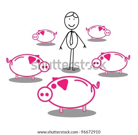 piggy bank Around Businessman  -  Vector Version Is Also Available