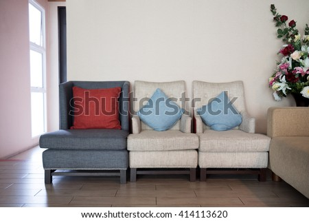 pillows on classic style sofa  #414113620
