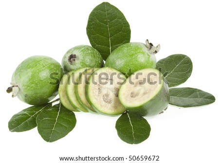 Pineapple Guava. Feijoa sellowiana  isolated on white background