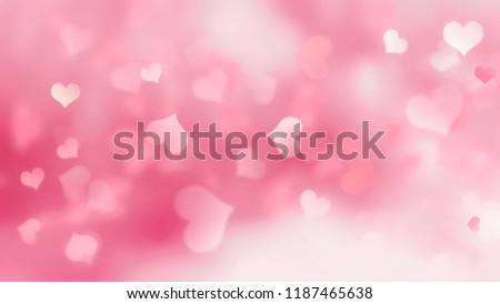 Pink background with hearts blurred