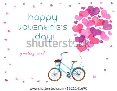 Pink heart-shaped balloons are tied to a blue retro bike for Valentine's Day greetings. Mockup of watercolor hand drawn greeting card for Valentine's Day greetings.