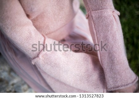 Pink mohair sweater details