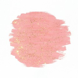 Pink paint with gold glitter on white background. Abstract gouache brush  strokes texture.