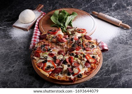 pizza dough and flour marble background with barbecue sauce with cheese mixed tuna fish margarita vegetarian Stok fotoğraf ©