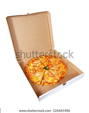 pizza in box. Isolated over white background