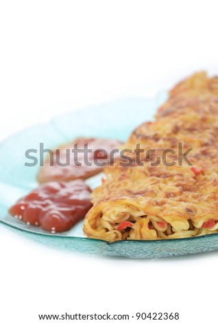 pizza noodles with tomato sauce and chili sauce looks closer, isolated on background