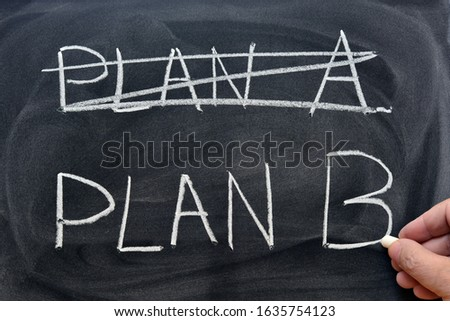 Plan A crossed out and Plan B written with a chalk on the blackboard
