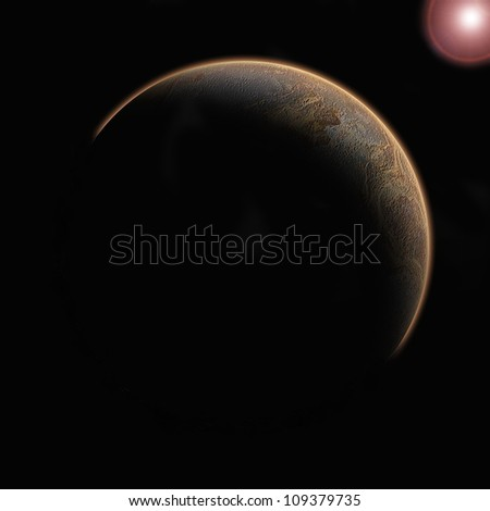 planet with sunlight  in the space