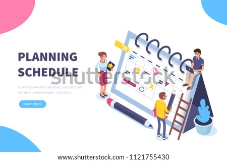 Planning schedule concept banner with characters. Can use for web banner, infographics, hero images. Flat isometric illustration isolated on white background. #1121755430