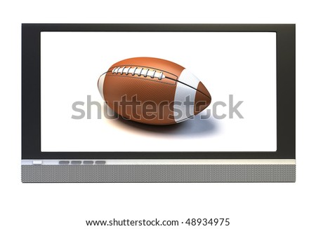 plasma television screen with a American football  in tv