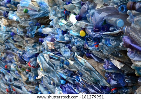 plastic bottles prepared for recycling