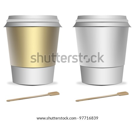 2 plastic coffee cup templates with stirrers over white background