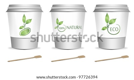 3 plastic coffee or tea cups with stirrers over white background