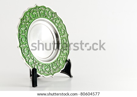 Plate Stainless steel Trophy with White Background