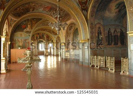 POCHAYIV, TERNOPIL, UKRAINE. - MAY 19:  Church interior.  Pochayiv Lavra Orthodox monastery. Cave Church of St. Iova.  May 18, 2007 in  Pochayiv, Ternopil, Ukraine.