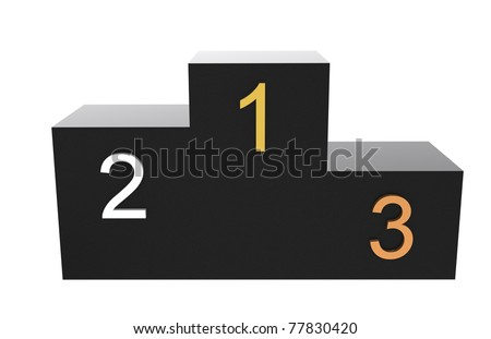 1, 2, 3 Podium. Black Podium with numbers in Gold, Silver and Bronze.