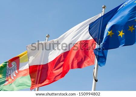 Polish flag against the sky