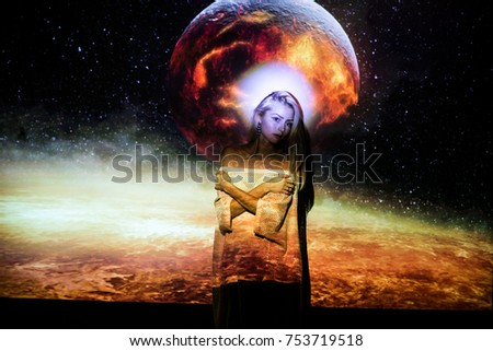 portrait of a girl,  planet, space #753719518