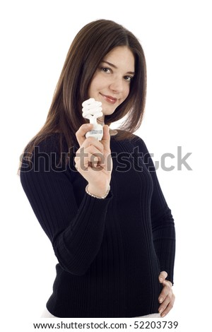 Portrait of a happy young saleswoman holding an energy efficiency light bulb isolated on white