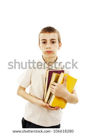 Portrait of a schoolboy with books on white background.