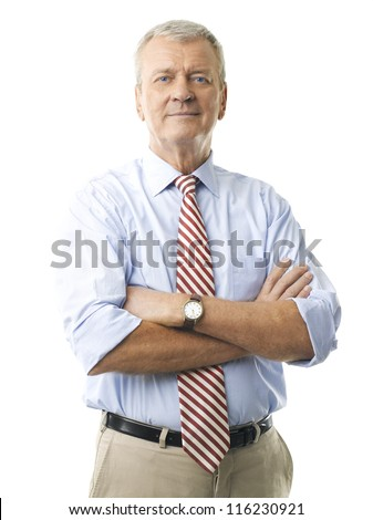 Portrait of a senior businessman smiling against white background #116230921