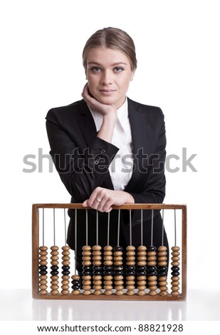 portrait of cute young business woman smiling with wooden abacus