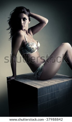 portrait of exquisite woman in lingerie sitting on the box - stock photo