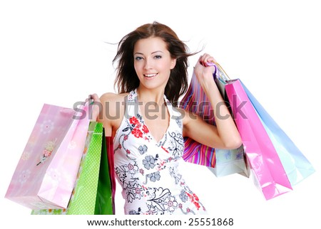 portrait of one happy young adult girl with colored bags