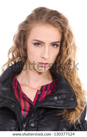 portrait of young girl blond girl with curly hair