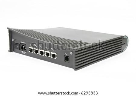 4 ports DSL modem isolated on white background