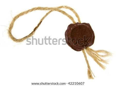 Post stamps , Empty seal wax with the cord isolated  on white background