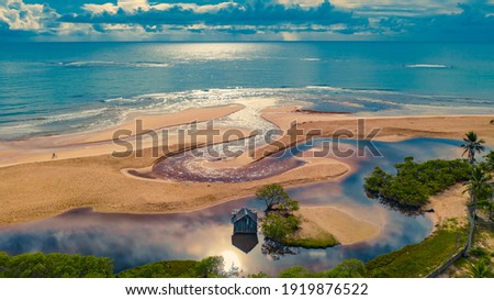 """Praia dos Nativos""(Local Beach) seen from Quadrado, in Trancoso, a district in the municipality of Porto Seguro, close to the famous Caraíva Beach, Bahia. Brazil."