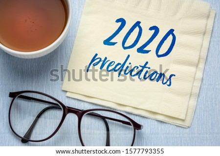 2020 predictions - handwriting on a napkin with a cup of tea, business and financial trends and expectations in New Year ストックフォト ©
