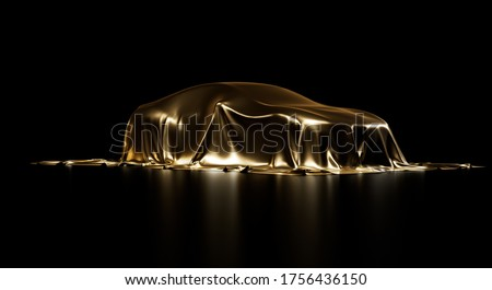 Presentation of a car under shiny gold cloth. Vehicle covered by smooth fabric sheet. Isolated on a black background with studio lighting. Realistic 3d Illustration. Сток-фото ©