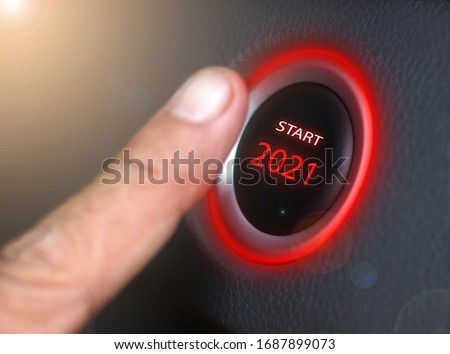 2021,Press the start button 2021 Concept of the New Year Two thousand twenty-one