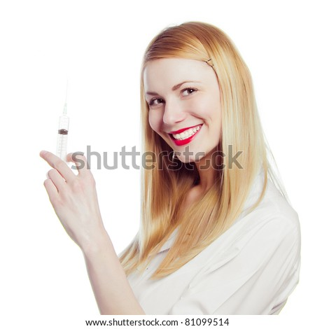 pretty nurse with syringe