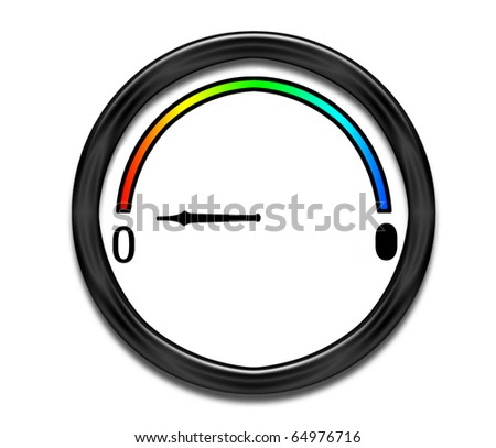 Pretty, round dial showing empty - stock photo