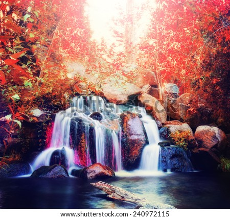 pretty waterfalls toned with a ...