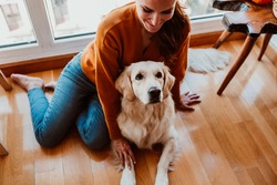 pretty young woman caring and petting her adorable golden retriver dog. Accompanied at home during the quarantine caused by the covid19. Lifestyle