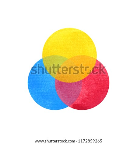 3 primary colors, blue red yellow watercolor painting circle round on white paper texture background