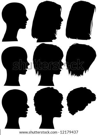 profile silhouettes of women & silhouettes of beauty salon hair styles.