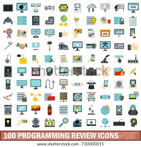 100 programming review icons set in flat style for any design  illustration