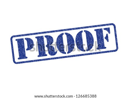 'PROOF' blue rubber stamp over a white background. Сток-фото ©