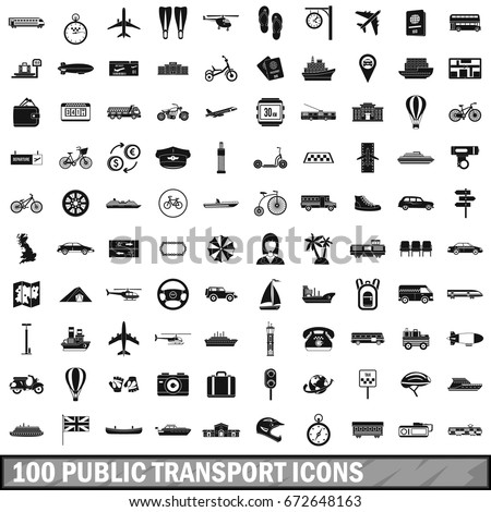 100 public transport icons set in simple style for any design  illustration