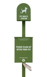 Public trash can for dog waste poop sign / Garbage container of dog pet garbage / Pet Waste bin Stations. Vertical view, outdoor.