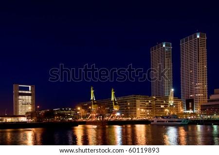 Puerto Madero neighbourhood at Night, Skyline, Buenos Aires, Argentina.