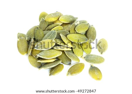 pumpkin seeds isolated on a white