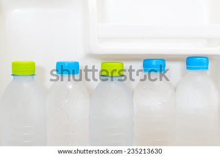 pure fresh cool bottles of water array in the refrigerator / health concept